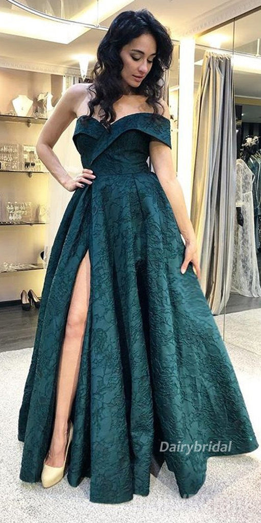 Newest Lace A-Line Sexy Slit Backless Prom Dresses, FC1963