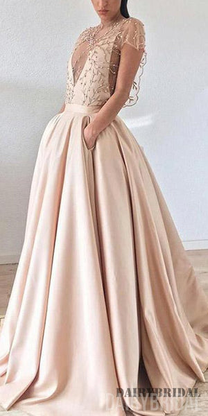 Cap Sleeve A-line Satin Beaded Inexpensive Long Tulle Prom Dresses, FC1973