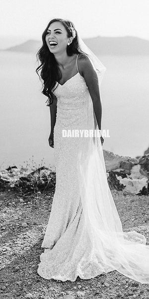 Spaghetti Straps Mermaid Beaded Sequin Backless Charming Wedding Dress, FC1998
