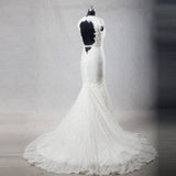 Best Sale Cap Sleeves Sexy Deep V Neck Lace Backless Wedding Dresses with Short Train,220020