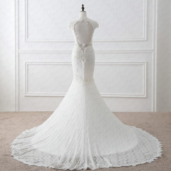 Best Sale Cap Sleeves Sexy Deep V Neck Lace Backless Wedding Dresses With Short Train 220020