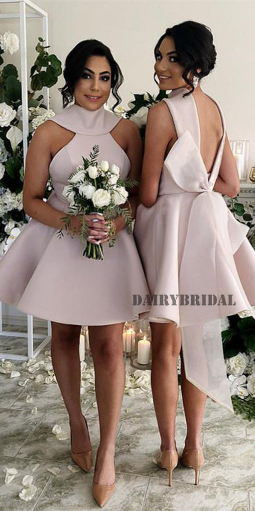 High-Neck Sleeveless Satin Backless A-Line Short Bridesmaid Dress with Bow-Knot, FC2033