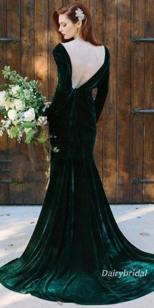 Long Sleeve Velvet V-neck Mermaid Backless Bridesmaid Dress, FC2049