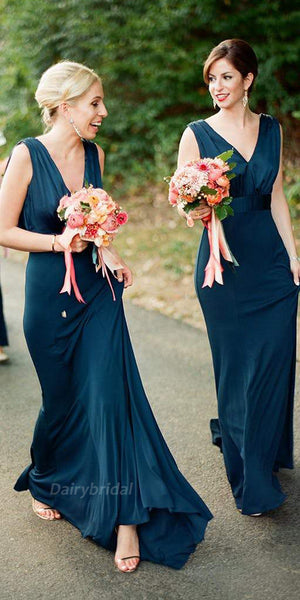 856b84eb5ce Sheath Jersey V-neck Sleeveless Floor-Length Backless Bridesmaid Dress