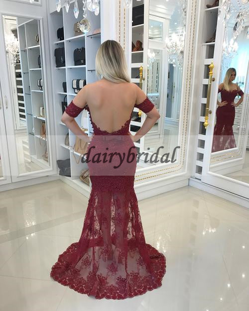 Tulle Applique Prom Dress, Round Neckline Lace Prom Dress, D205
