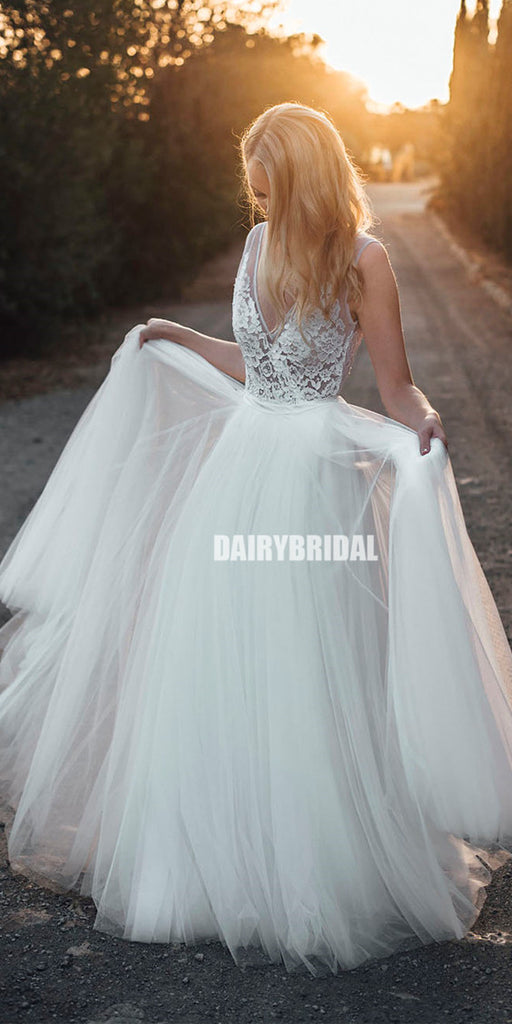 Lace V-neck Sleeveless Mermaid Backless Wedding Dresses with Tulle Detachable Skirt, FC2062