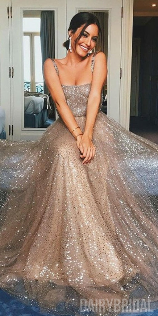 Gold Sparkly Sequin Backless A-Line Cheap Sleeveless Prom Dresses, FC2092