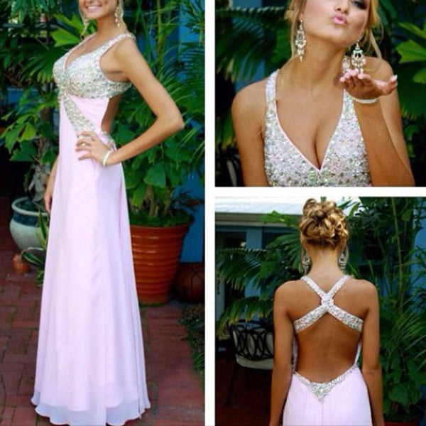 Junior Floor Length Open Back Sexy Formal A line Discount Long Prom Dress, WG209