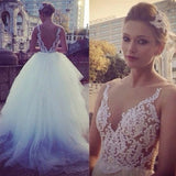 Sexy V-Back Lace Top White Tulle Wedding Party Dresses, Popular Cheap Bridal Gown, WD0020