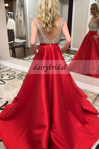 A-Line Satin Backless Prom Dress, Red Beaded Sleeveless Prom Dress, D212