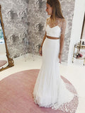 Two Pieces Lace Mermaid Short Sleeve Satin Wedding Dresses, FC2147