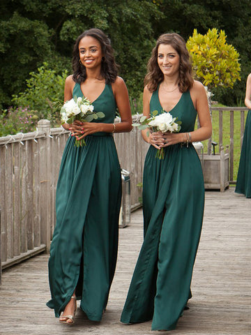 Elegant A-line V-neck Slit Backless Jersey Bridesmaid Dress, FC2158