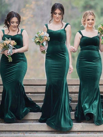 Simple Velvet Mermaid Backless Inexpensive Bridesmaid Dress, FC2159