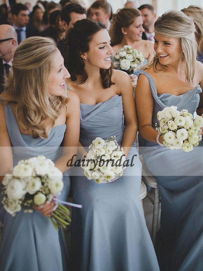 One Shoulder Chiffon Bridesmaid Dress, Backless Bridesmaid Dress, D217