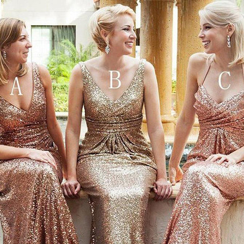Sequin Mismatched Bridesmaid Dress, Backless Floor-Length Bridesmaid Dress, Cheap Bridesmaid Dress, D218
