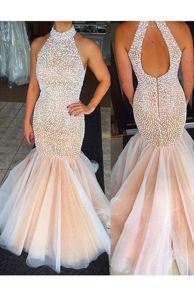 Tulle Mermaid Evening Prom Dress, Long Cheap Evening Prom Dress, Pearls Prom Dress, 2017 Prom Dress, Formal Prom Dress, 17020