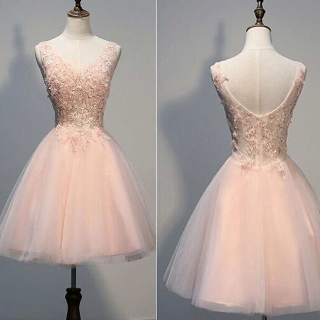 Blush Pink V Back Homecoming Dresses,2017 V-Neck Tulle Short Cocktail Dress Girls Graduation Gowns,220057
