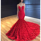 Spaghetti Straps Mermaid Luxury 3D Lace Backless Red Prom Dresses, FC2204