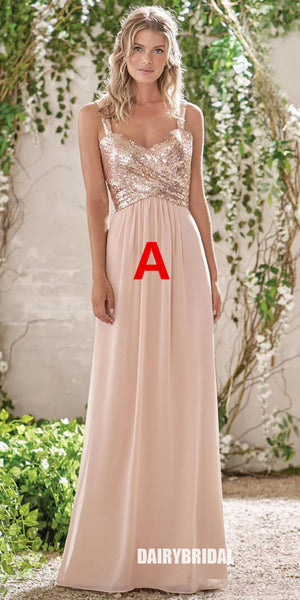 Mismatched Sequin Top Bridesmaid Dress, Chiffon Floor-Length Bridesmaid Dress, D220