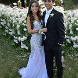 Chiffon Mermaid Open-Back Beaded Sparkle Sleeveless Long Prom Dress, FC200