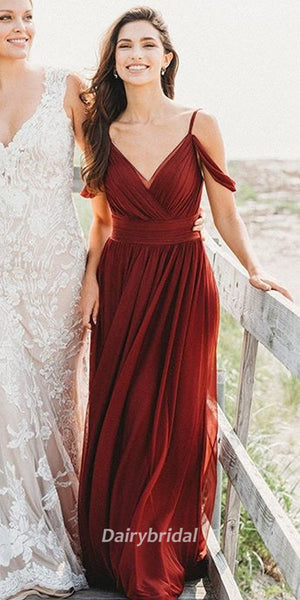 Mismatched Chiffon Simple A-line Floor-Length Bridesmaid Dress, FC2221