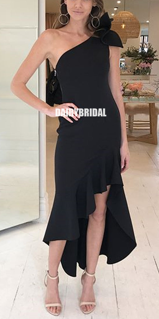 Black One Shoulder High-Low Jersey Backless Bridesmaid Dress, FC2246