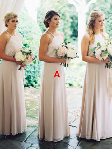 Charming A-line Chiffon Sleeveless Simple Backless Bridesmaid Dress, FC2254