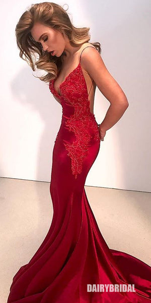 Spaghetti Straps Mermaid Applique Backless Red Prom Dresses, FC2312