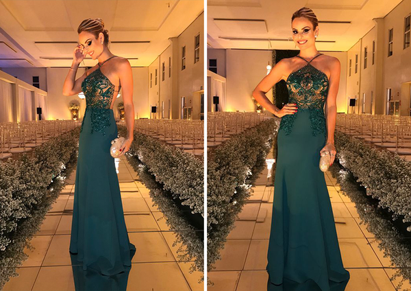 Sexy See-Through Backless Prom Dress, Mermaid Beaded Prom Dress, D232