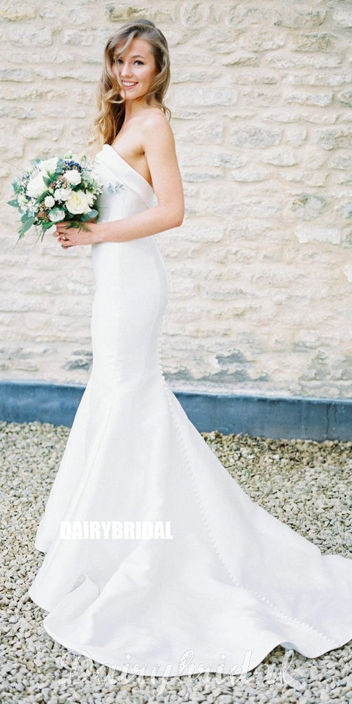 Charming Mermaid Backless Satin Long Beaded Wedding Dresses, FC2361