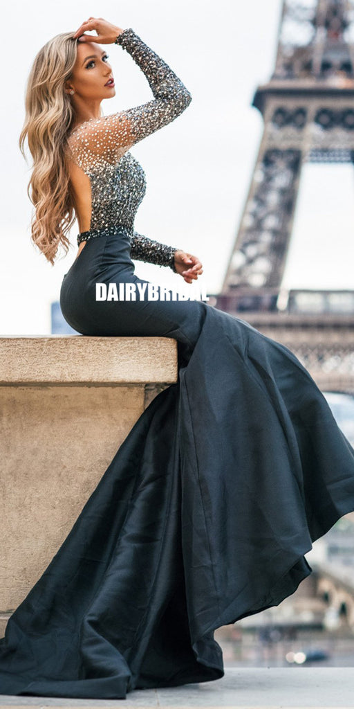 Black Satin Long Sleeve Beaded Mermaid Backless Prom Dresses, FC2362