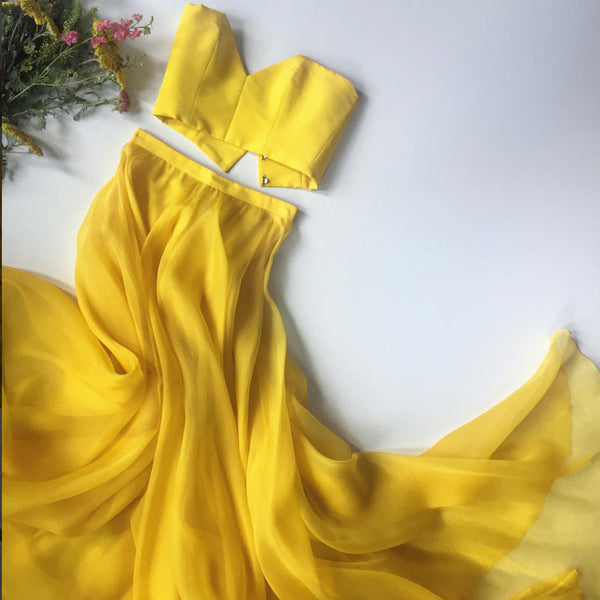 Yellow A-line Two Pieces Backless Charming Prom Dresses, FC2379