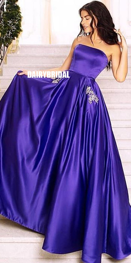Charming A-line Straight Neckline Satin Backless Beaded Prom Dress with Pockets, FC2398