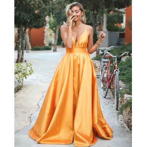 Spaghetti Straps A-line Satin Backless Simple Designed Prom Dress, FC2408