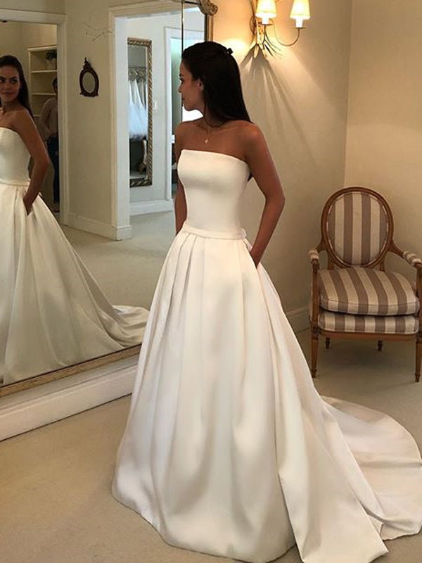 Simple A-line Satin Backless Straight Neckline Wedding Dress with Pockets, FC2409