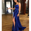 Spaghetti Straps Backless Prom Dresses, Soft Satin Side Split Prom Dresses, D241