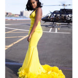 Yellow Mermaid Charming Jersey Backless V-neck Prom Dresses, FC2420