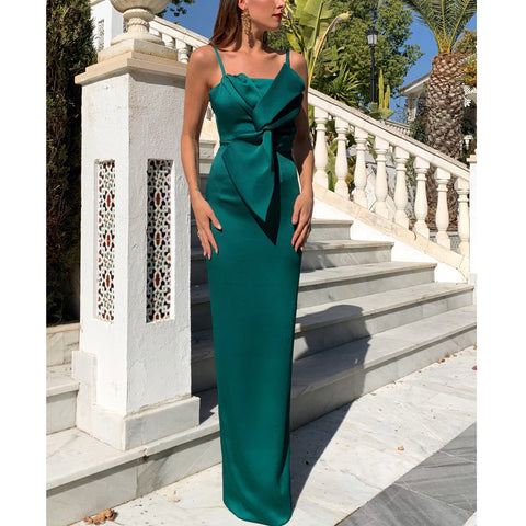 Spaghetti Straps Mermaid Jersey Sexy Slit Backless Prom Dresses, FC2421