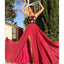 Charming A-Line Lace Backless Slit Chiffon Long Prom Dresses, FC2423