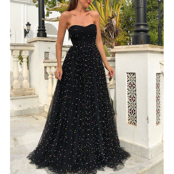 Sweetheart A-line Tulle Backless Black Long Beaded Prom Dresses, FC2425