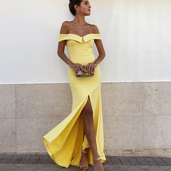 Off Shoulder Yellow Jersey Slit Backless Simple Prom Dresses, FC2432