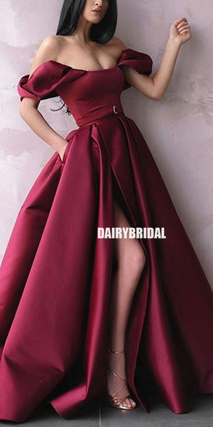 Off Shoulder A-line Satin Sexy Slit Backless Prom Dress with Pockets, FC2344