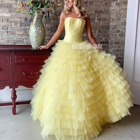 A-Line Tulle Backless Simple Yellow Satin Inexpensive Prom Dress, FC2479