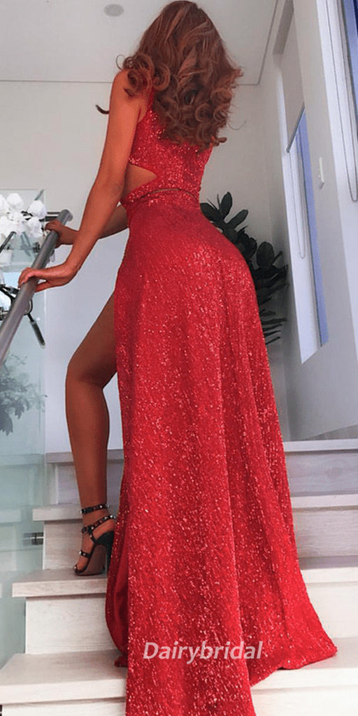 Red Mermaid Sparkly Sequin Slit Backless Sexy Prom Dresses, FC248