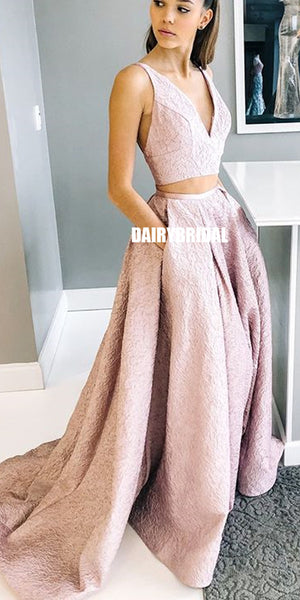 A-line Lace V-neck Sleeveless Two Pieces Prom Dress with Pockets, FC2492