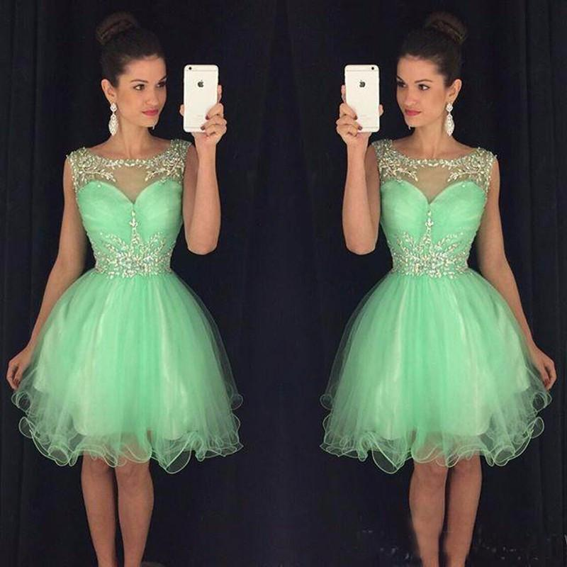 High Quality Green Short Homecoming Dresses Off Shoulder Tulle Rhinestone Sexy Cocktail Party Dresses Cheap Homecoming Prom Dresses,220025