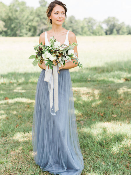 Two Pieces Tulle A-line Simple Designed Jersey Sleeveless Bridesmaid Dress, FC2509