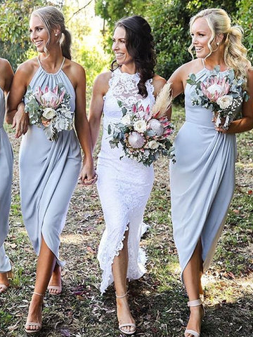 Elegant Jersey Simple Designed Sleeveless Slit Bridesmaid Dress, FC2512