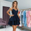 Short A-line Sequin Spaghetti Straps Lace Homecoming Dress, FC2528