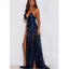 Spaghetti Straps Sequin Prom Dresses, V-Neck Backless Slit Prom Dresses, D252